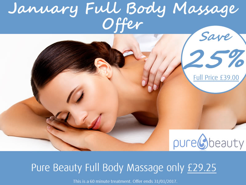 January 2017 Full Body Massage Offer at Pure Beauty Lichfield