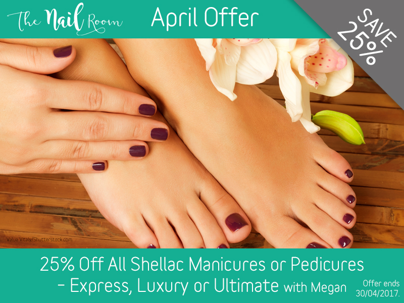 April 2017 Shellac Manicure or Pedicure Offer