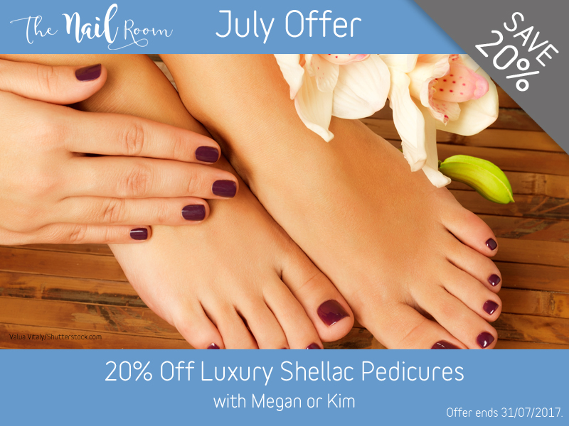 July 2017 Luxury Shellac Pedicure Offer