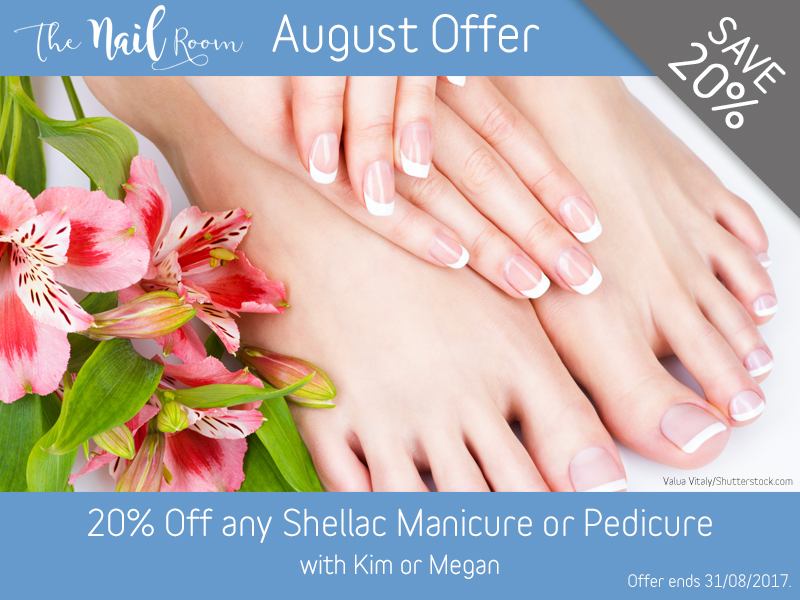 August 2017 Shellac Manicure or Pedicure Offer