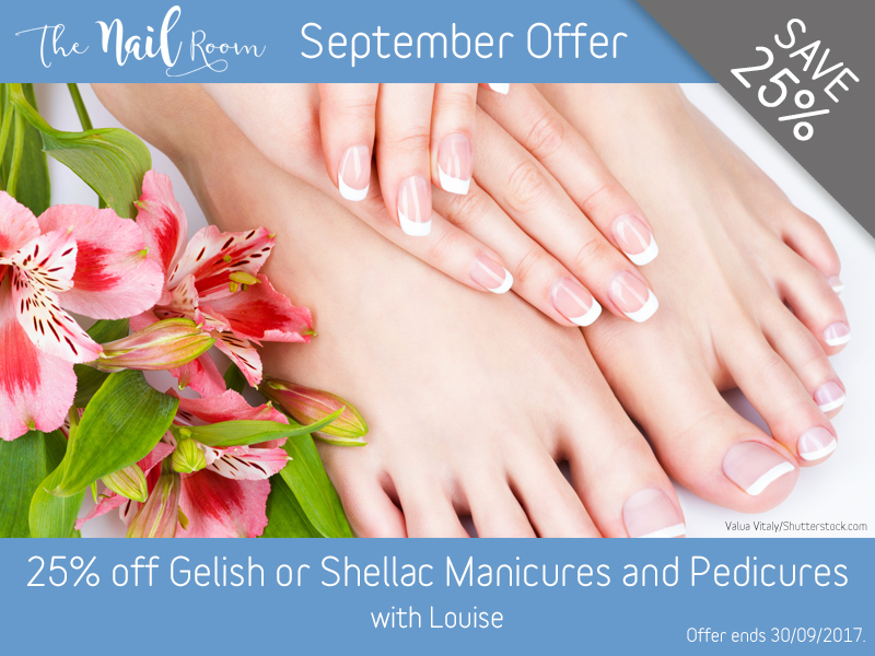 September 2017 Gelish or Shellac Manicure or Pedicure Offer