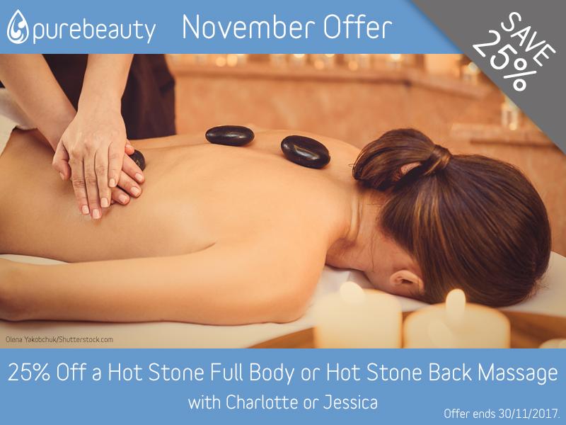 November 2017 Hot Stone Full Body or Hot Stone Back Massage Offer