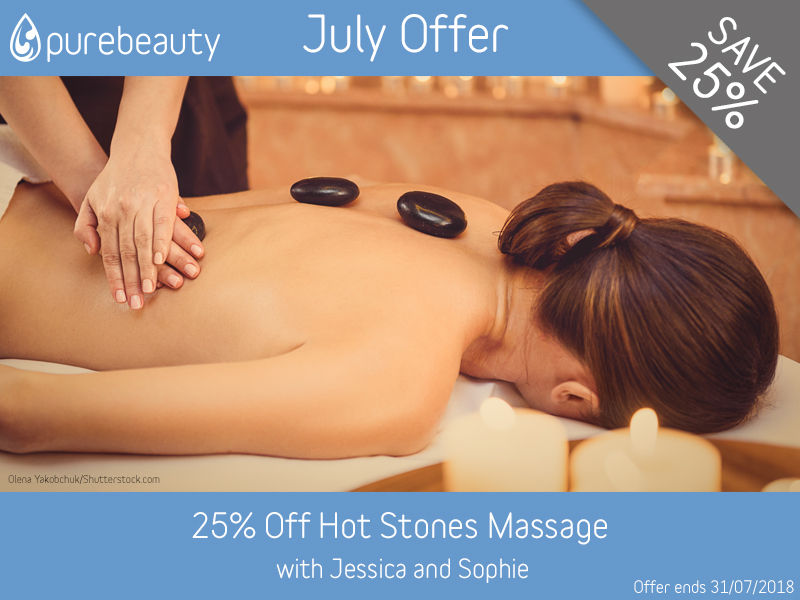 July 2018 Hot Stones Offer at Pure Beauty Lichfield