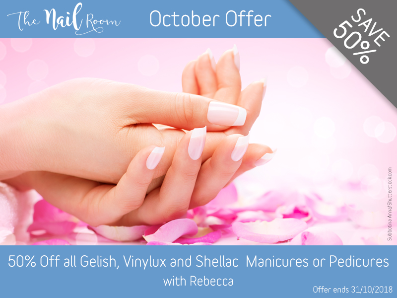 October 2018 Gelish, Vinylux and Shellac Manicure or Pedicure Offer