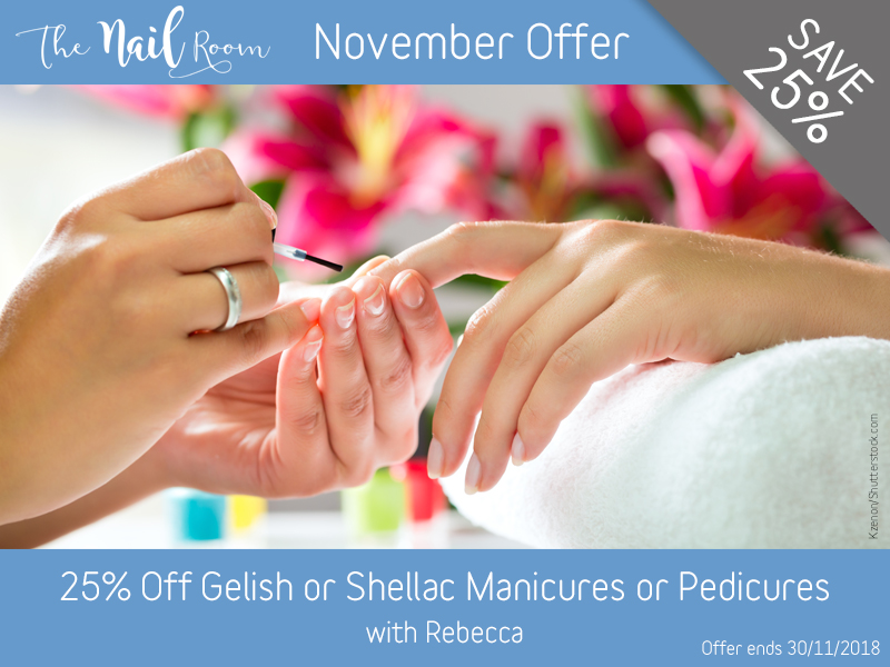 November 2018 Gelish or Shellac Manicure or Pedicure Offer at Pure Beauty Lichfield