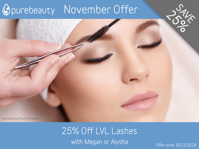 November 2018 LVL Lashes Offer at Pure Beauty Lichfield