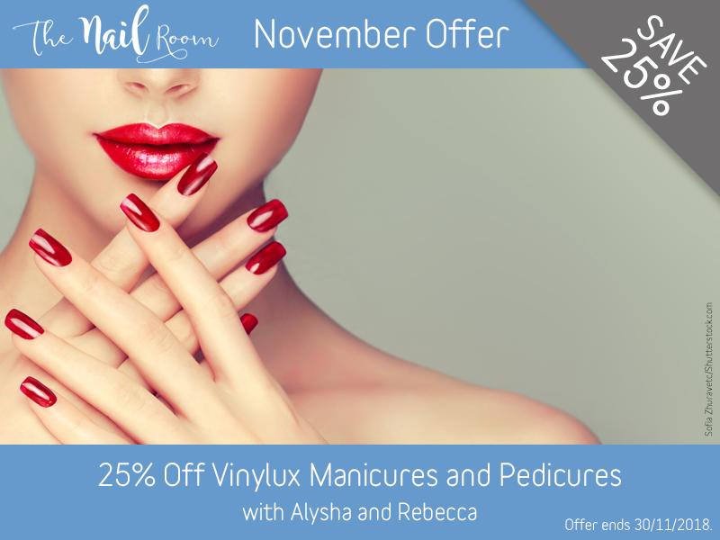 November 2018 Vinylux Manicure and Pedicure Offer