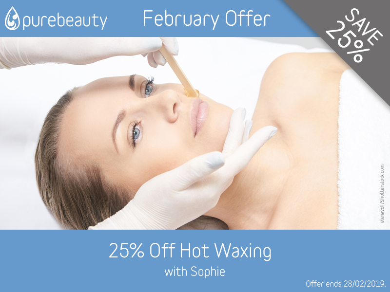 February 2019 Hot Waxing Offer at Pure Beauty Lichfield