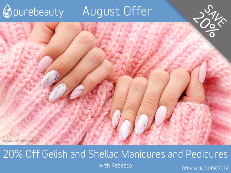 August 2019 Gelish and Shellac Manicures and Pedicures Offer