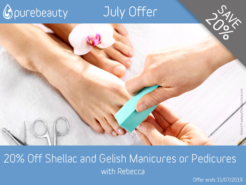 July 2019 Shellac and Gelish Manicures or Pedicures Offer at Pure Beauty Lichfield