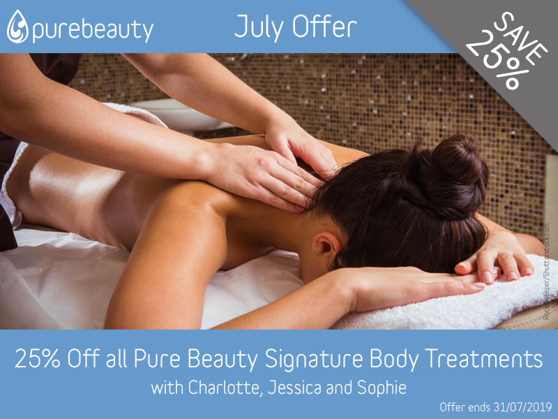 July 2019 Pure Beauty Signature Body Treatments Offer at Pure Beauty Lichfield