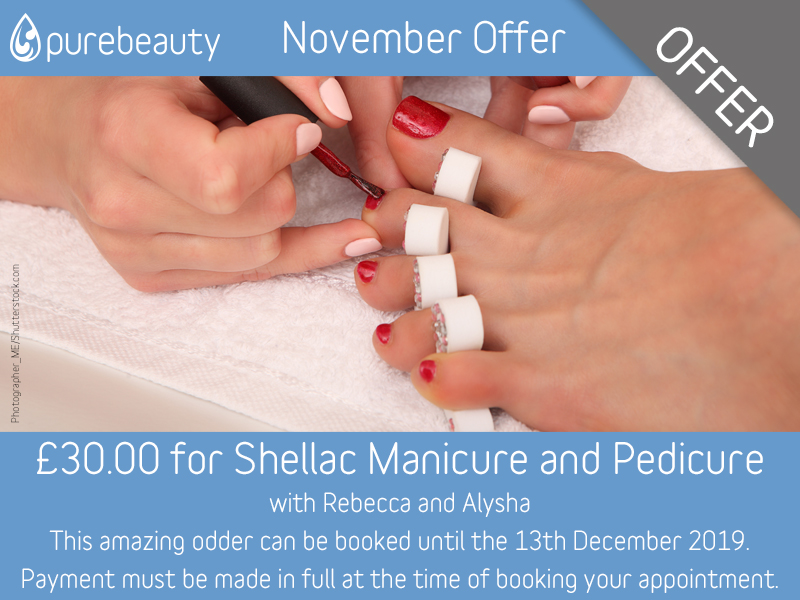 November 2019 Shellac Manicure and Pedicure Offer at Pure Beauty Lichfield
