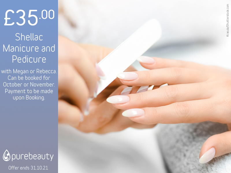 October 2021 Shellac Manicure and Pedicure Offer